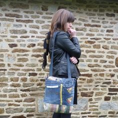 Sac jean recyclé zippé et décoré grande taille