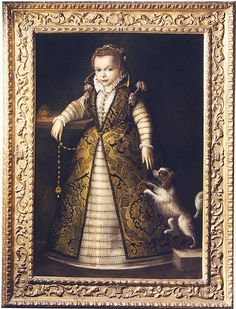 Tiberio di Titi (Italian,1573-1627) ~ Portrait of Caterina di Ferdinando I de' Medici ~ 1595 ~ Caterina di Ferdinando I de' Medici (1593-1629) was the daughter of Ferdinando I and the grand-daughter of Cosimo I de' Medici. In 1617 she left Florence for Mantua, where she married Ferdinando Gonzaga, who died nine years later in 1626. The following year she returned to Florence before being installed as the Governess of Siena.
