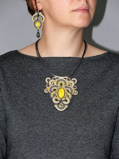 Gray and yellow Soutache necklace with Haematite. by ANBijou