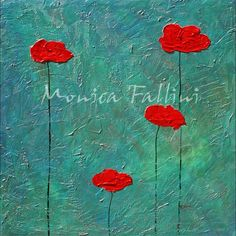 Paintings by Monica Fallini: Red Poppies on satin background, original painting...