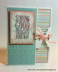handmade card from Stampin Sunshine ... luv the special fold ... tag topper punch used to create a tie up card ...  Stampin' Up!