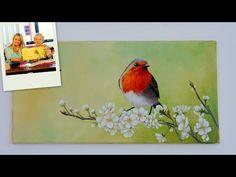 Como pintar en acrilico - Pajaros y Flores - Mabel Blanco - YouTube