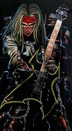 SKULLS & BONES Iron Maiden Posters, Grim Reaper Art, Heavy Metal Art, Metal Skull, Skull Artwork, Goth Art, Guitar Art, Rock Posters, Cool Art Drawings