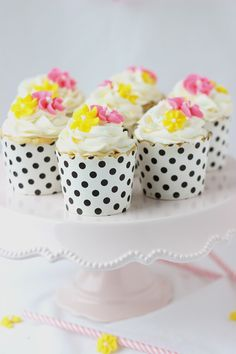 Vanilla Anise Cupcakes. love the pink and yellow flowers
