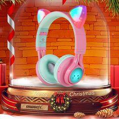 kids headphones wireless bluetooth cat ear headphones for kids Wireless Cat Headphones, Cute Headphones, Xmas Gifts For Kids, Imam Reza, Jojo Siwa Birthday, Travel Plane, Earphone Case, Pink And Green, Tiffany