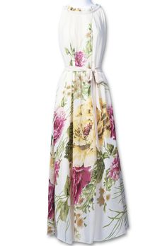 Yellow Sleeveless Belt Floral Full-Length Dress