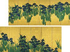 Ogata Korin (1658-1716). Paravents aux iris, première moitié du XVIIIe siècle. Paire de six paravents, couleurs sur papier doré à la feuille. 150,9 x 338,8cm chacun. Tokyo, Musée Nezu.