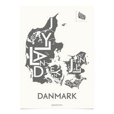 Kortkartellet   Danmark koksgrå plakat   to størrelser