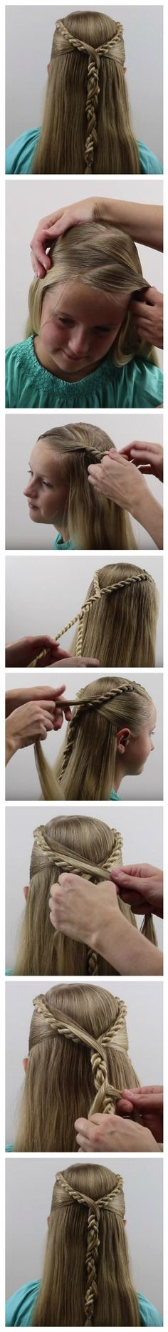 Beautiful Hairstyle -- Rope Twist Hawser Brid Pullback -- #braid #hair #ropebraid #hairstyle #basic_braids #how_to_Braid #alhamdulillah