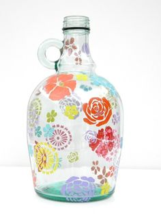 Stenciled Glass Container : COPY PASTE