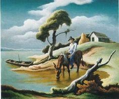 1951 Thomas Hart Benton (American regionalist artist, 1889–1975) Farmer Watering the Mule. Courtesy: Barbara Wells Sarudy, (USA).