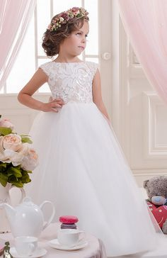 Flower Girl Dresses ,Ivory Flower Girl with Pearled