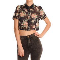 Hearts & Bows Floral Starsound Cropped Chiffon Shirt www.ark.co.uk #dresses #motel #motelrocks