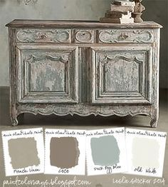 COLORWAYS Sideboard from Soft Surroundings inspire a color palette of soft neutrals. To recreate use Annie Sloan Chalk Paint®, French Linen, Coco, Duck Egg Blue, Old White by Lenore Armstrong Annie Sloan Painted Furniture, Annie Sloan Paints, Distressed Furniture, Repurposed Furniture, Shabby Chic Furniture, Annie Sloan Chalk Paint Colors, Painted Furniture French, Distressed Dresser, Bohemian Furniture