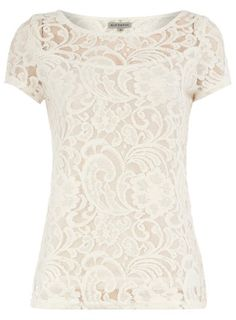 Cream lace tee. I love the lace pattern! @DownEast Basics #SpringStyle