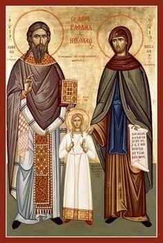 Icon of Sts. Raphael, Nicholas & Irene - Great Greek Orthodox Church in Cumming, Georgia