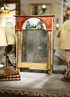 18th Century French Antique Mirror with Reverse Glass Painting, circa 1790