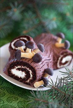 Oatmeal chocolate swiss roll