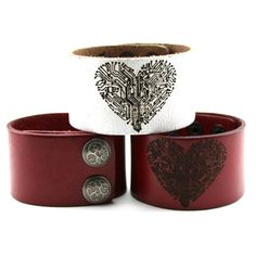 Laser Engraved Leather Heart Cuff Bracelet