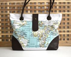 Mint World Map Fabric White Canvas Leather Tote Large Tote World Map Bag Travel Tote Bag Beach Bag Diaper Bag Mint White Brown (114.00 USD) by BarbaLeatherStudio