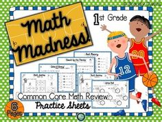 FREE! Get a quick check of student progress in March with this set of math review practice sheets! Simple and clean printable practice sheets with a basketball theme act as a review or assessment for first grade Common Core math standards 1.OA.5, 1.OA.6, and 1.MD.3Concepts reviewed include fluency to 10, counting on and counting back to add and subtract, fact families and telling time to the hour and half-hour.