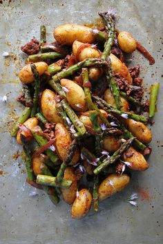 Smoky Potatoes with Asparagus and Chorizo
