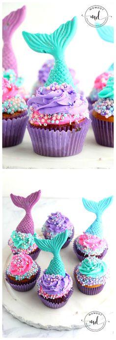 New baby shower food nautical cupcake toppers Ideas Mermaid Birthday Cakes, Mermaid Cakes, Birthday Cupcakes, Mermaid Cupcake Cake, 4th Birthday, Birthday Ideas, Little Mermaid Cupcakes, Little Mermaid Parties, The Little Mermaid