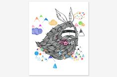"""Flying bunny with too much hair - Art Print 8"""" x 10"""" 