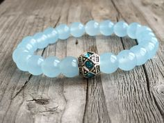 Gemstone bracelet, Woman bracelet gift , Stretch stacking bracelet, Gemstone Jewlery, Light blue bracelet, Bohemian bracelet, Ibiza bracelet door KennlyDesign op Etsy