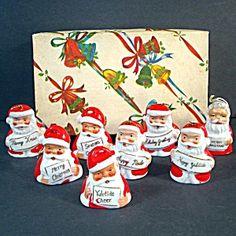 Box 1950s Porcelain Santa Claus Christmas Bell Ornaments