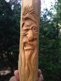 HAND CARVED Angry Winking Viking Wizard Wood Spirit by RCWaitsArt