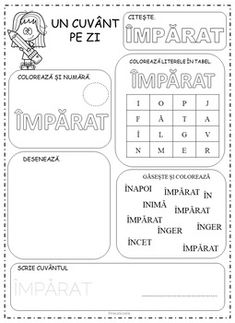 Kindergarten Word of the Day in Romanian by Ema La Scoala Preschool At Home, Preschool Math, Kindergarten Worksheets, Dinosaur Classroom, Classroom Rules, Romanian Language, Letter Worksheets, Thing 1, Printed Pages