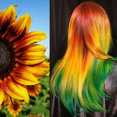 Orange-yellow-green hair