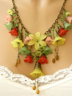 Image result for lucite flower necklace