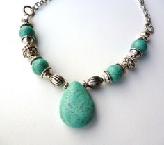 Handmade turquoise howlite necklace with teardrop pendant - only $18 by Big Skies Jewellery