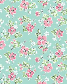 Benartex, SWEET SHOPPE (Calico Candies), Michele D' Amore, Little Flower in Aqua, 1/2 Yard. $4.50, via Etsy.