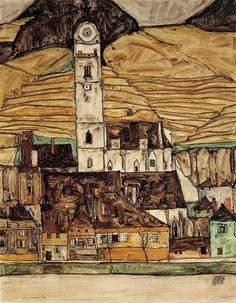 Stein on the Danube, 1913 by Egon Schiele. Art Nouveau (Modern). cityscape. Private Collection