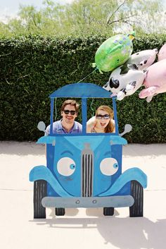 Throw a little blue truck birthday party with diy photobooth