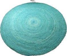 Stoer turquoise rond vloerkleed voor woonkamer, slaapkamer en kinderkamer.