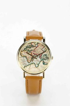 """This """"Around The World"""" leather watch 23 Holiday Gifts For The Travel Addict In Your Life Travel Accessories, Jewelry Accessories, Fashion Accessories, Jewelry Ideas, Jewelry Box, Jewelry Watches, Travel Gifts, Urban Outfitters, Wanderlust"""