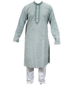 Mogul India Green Cotton Kurta with White Pajama Set Ethnic Wear, Gift for Him