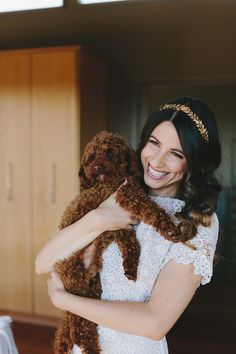 gorgeous bride with poodle pup