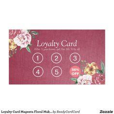 Loyalty Card Magenta Floral Makeup & Hair Stylist