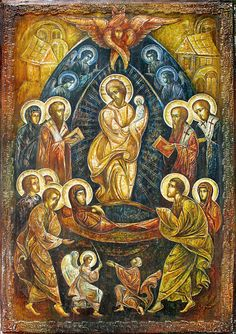 The Dormition I love how the Theotokos is leaning forward in adoration.