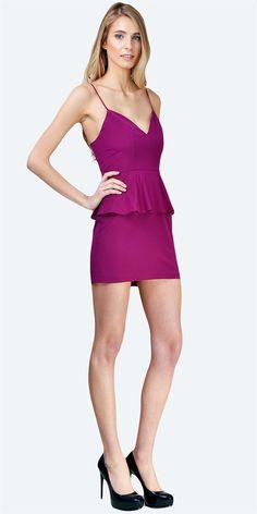 Sweetheart Peplum Dress Wine