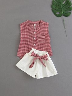 Shop Girls Gingham Blouse With Knotted Shorts online. SHEIN offers Girls Gingham Blouse With Knotted Shorts & more to fit your fashionable needs. Frocks For Girls, Kids Frocks, Dresses Kids Girl, Cute Dresses, Kids Outfits, Baby Girl Dress Patterns, Baby Dress Design, Frock Design, Baby Frocks Designs