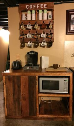 Pallet coffee/ microwave cart. Pallet project- exactly what I want to make! Witty room for a mini fridge!