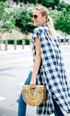 gingham, mom style, street style, summer style, street style, cult gaia bag, duster, street style www.herstyledview.com