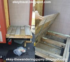 What a great idea for porch floor storage in a mobile Tiny House! @JoeTHH www.tinyhousehacks.com facebook.com/tinyhousehacks
