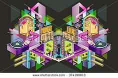 Midnight Party. Template poster. Vector illustration. - stock vector